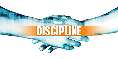 affiliation: Discipline Concept with Businessmen Handshake on White Background Stock Photo