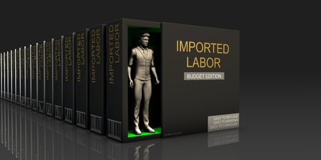 glut: Imported Labor Endless Supply of Labor in Job Market Concept Stock Photo