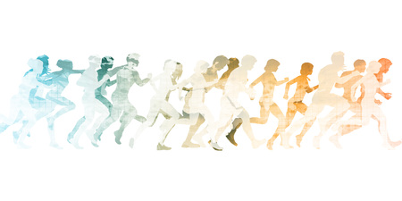 sprinting: Sports Background with People Running as Concept