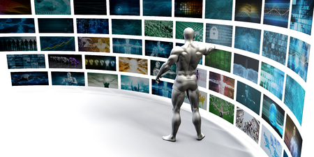entertainment background: Entertainment Background with Wall of Videos and Screens or Tvs Stock Photo