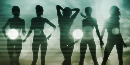 babes: Beach Babes Sunset Silhouette Enjoying the Sun Stock Photo