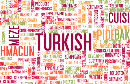 listing: Turkish Food and Cuisine Menu Background with Local Dishes Stock Photo