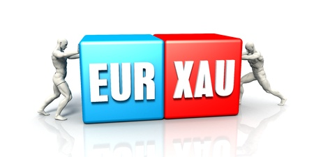 strong base: EUR XAU Currency Pair Fighting in Blue Red and White Background Stock Photo