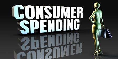 consumer: Consumer Spending as a Concept with Lady Holding Shopping Bags