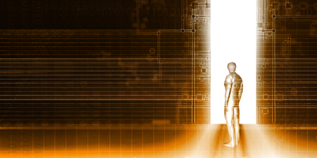 private domain: Man Standing In Front of Technology Portal as Background