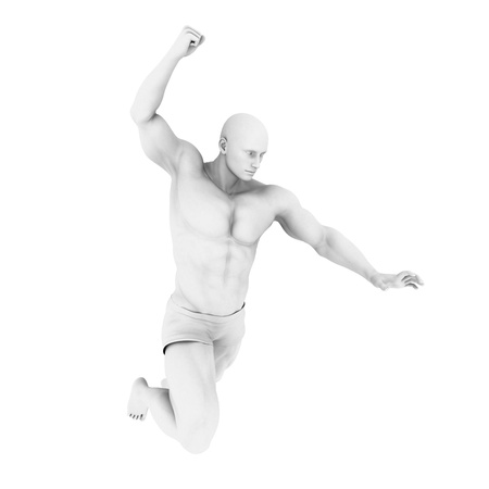 classic classical: Superhero Pose With a Man in 3d Render Illustration