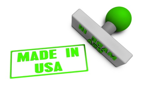 stamped: Made in USA Stamp or Chop on Paper Concept in 3d