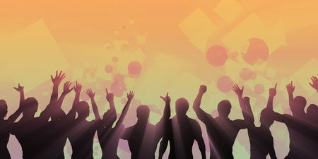 loco: Party Background with a Crowd Cheering Silhouette Abstract