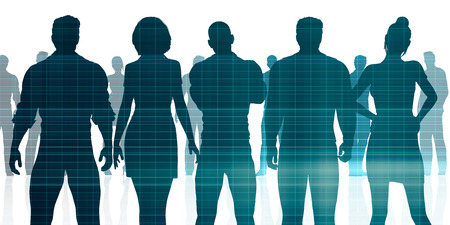Confident Business Team Looking at You Silhouette