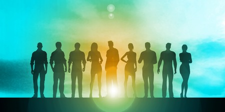team concept: Business Team Silhouette as a Concept Illustration Stock Photo