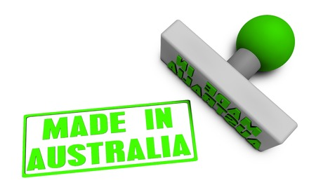 Made in Australia Stamp or Chop on Paper Concept in 3d