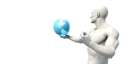 Science Research in a Global Community with Globalization Stock Photo