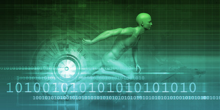 evolving: Technology Evolution with Man Evolving with System Stock Photo