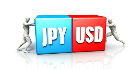 JPY USD Currency Pair Fighting in Blue Red and White Background