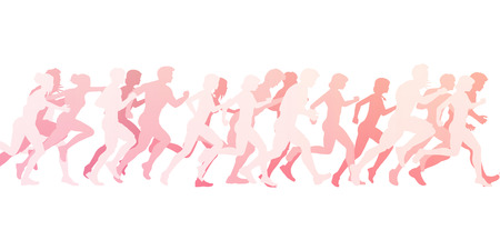 running man: Marathon Run as an Illustration Concept Background on White