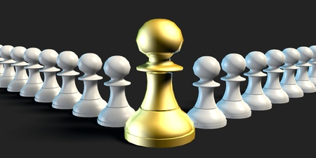 team from behind: Employees Supporting Manager Business Chess Strategy Concept