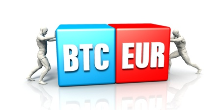 BTC EUR Currency Pair Fighting in Blue Red and White Background
