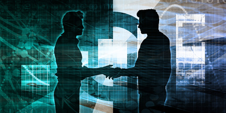 Business Presentation Background with Two Men Shaking Hands