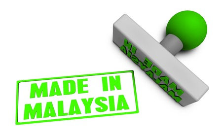 Made in Malaysia Stamp or Chop on Paper Concept in 3d Stock Photo
