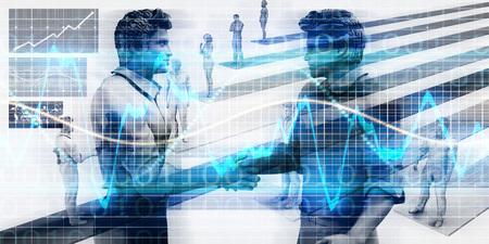 planeación estrategica: Visual concepto de negocio virtual con los hombres del apretón de manos