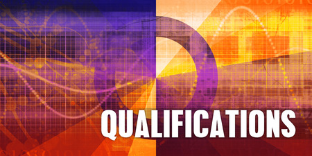 Qualifications Focus Concept on a Futuristic Abstract Background Stock Photo