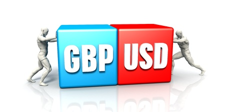 GBP USD Currency Pair Fighting in Blue Red and White Background