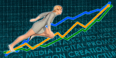 Businesswoman Charging Ahead on Blue Background Art Stock Photo