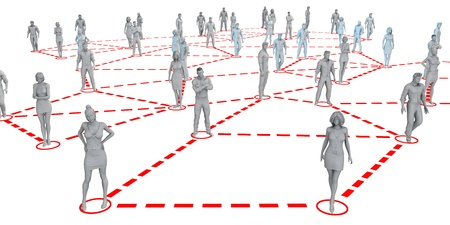 linked: Community Population of Men and Women Workers Linked Together Stock Photo