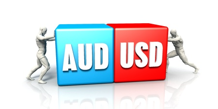 AUD USD Currency Pair Fighting in Blue Red and White Background