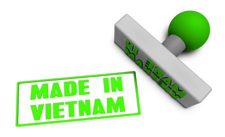Made in Vietnam Stamp or Chop on Paper Concept in 3d Stock Photo