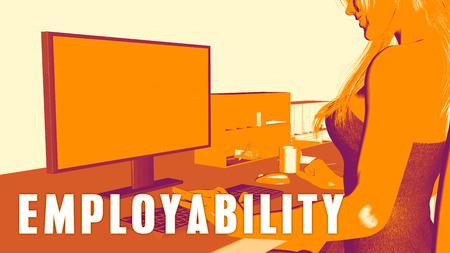 Employability Concept Course with Woman Looking at Computer