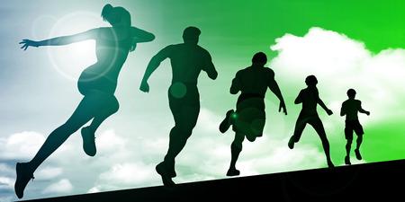Athletes Running During Sunset with Silhouette Illustration 版權商用圖片