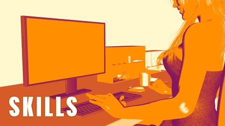 Skills Concept Course with Woman Looking at Computer Lizenzfreie Bilder