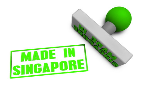 Made in Singapore Stamp or Chop on Paper Concept in 3d