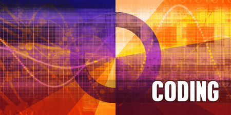 Coding Focus Concept on a Futuristic Abstract Background