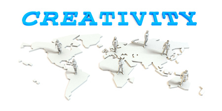 Creativity Global Business Abstract with People Standing on Map Lizenzfreie Bilder
