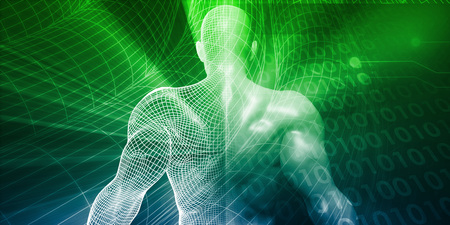 Digital Lifestyle and Futuristic Man Using Technology Lizenzfreie Bilder