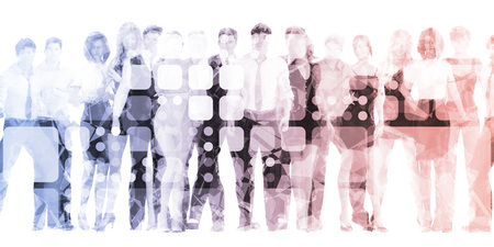 Confident Business Team Smiling as Abstract Background