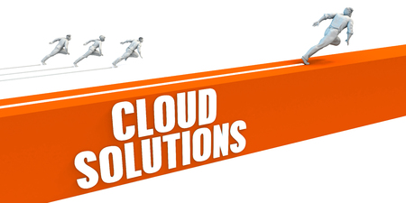 express lane: Cloud Solutions Express Lane with Business People Running