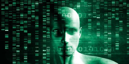 과학 개념으로 게놈 시퀀스 및 의료 혁신