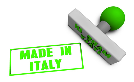 produced: Made in Italy Stamp or Chop on Paper Concept in 3d Stock Photo