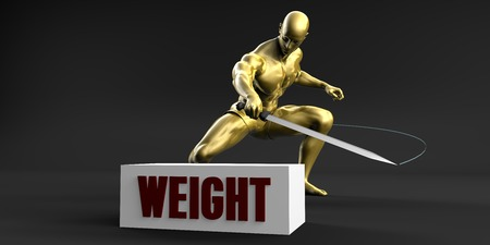 slashing: Reduce Weight and Minimize Business Concept Stock Photo