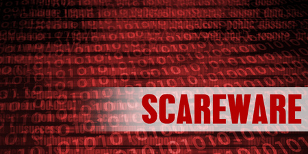 Scareware Security Warning on Red Binary Technology Background Stock Photo