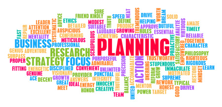 Planning Word Cloud Concept on White