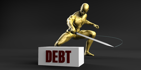 slashing: Reduce Debt and Minimize Business Concept Stock Photo