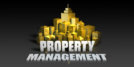 Property Management Industry Business Concept with Buildings Background Stock Photo