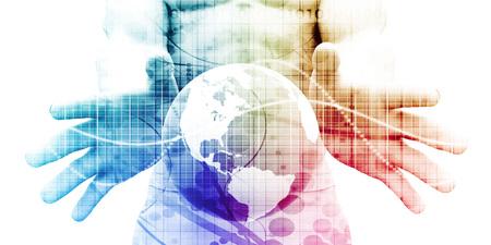 Technologieoplossingen met een bedrijfsoplossing Art Stockfoto