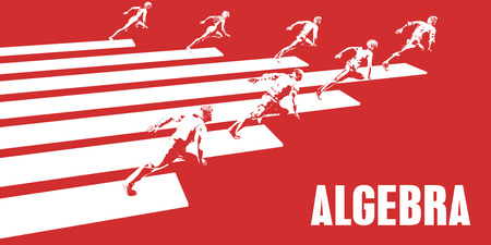 Algebra with Business People Running in a Path