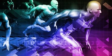 Technology Research and Race to Success as Concept Lizenzfreie Bilder
