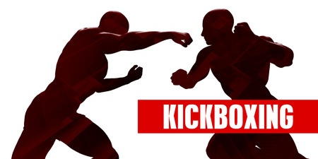Kickboxing Class with Silhouette of Two Men Fighting